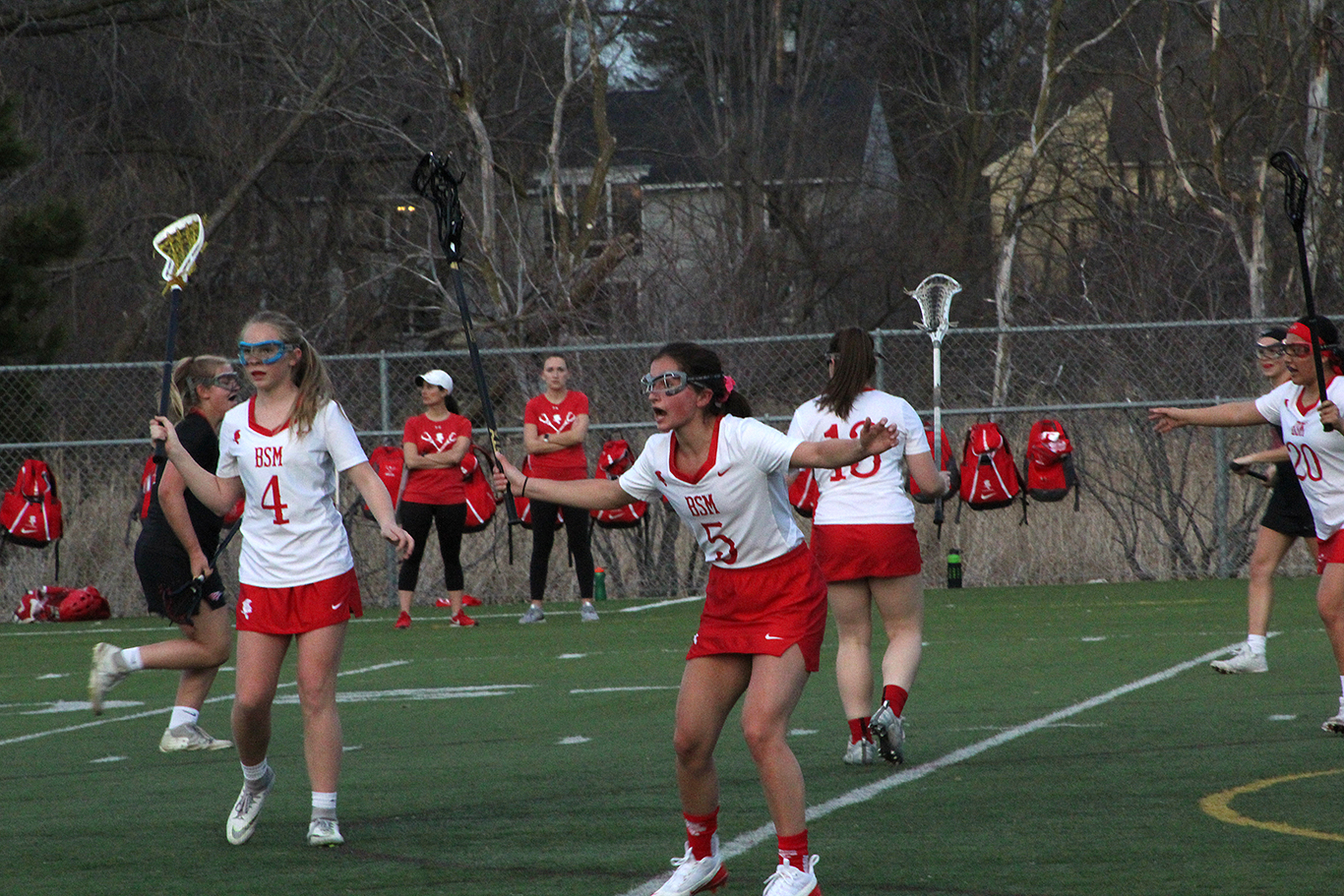 Senior Sally Calengor playing strong defense to help the Re Knights.