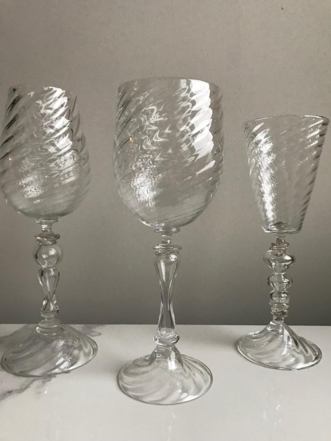"Petty's set of three blown glass blue goblets, entitled ""The Goblet Series,"" won a National Gold Key award."