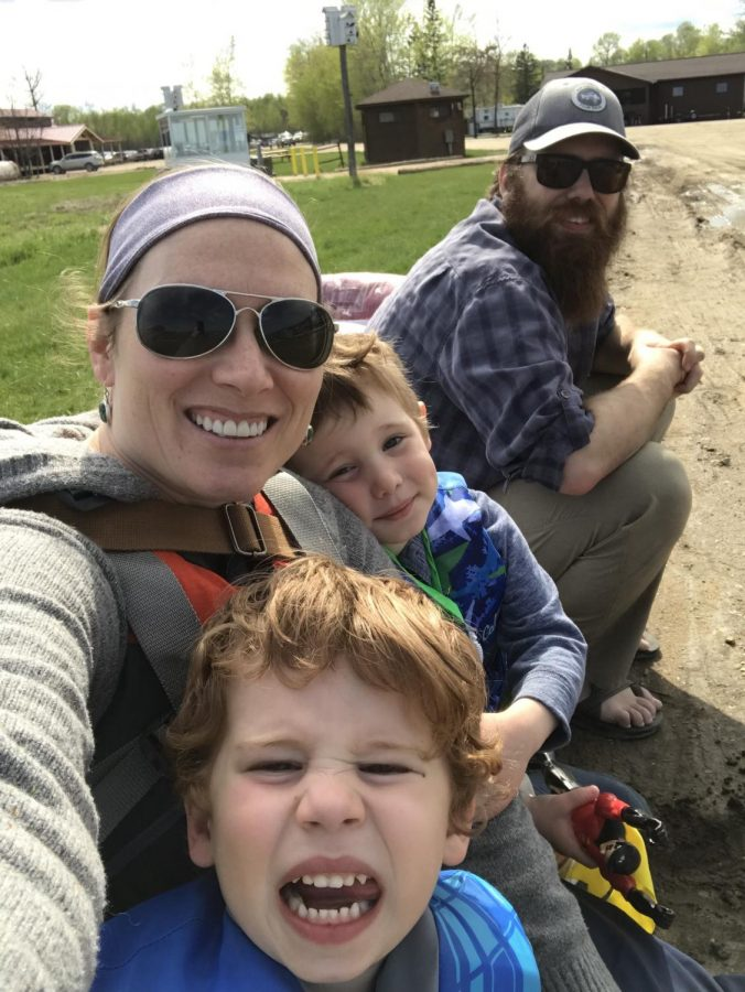 The entire Belanger family paused for a selfie when they recently visited the camp before their summer-long adventure.
