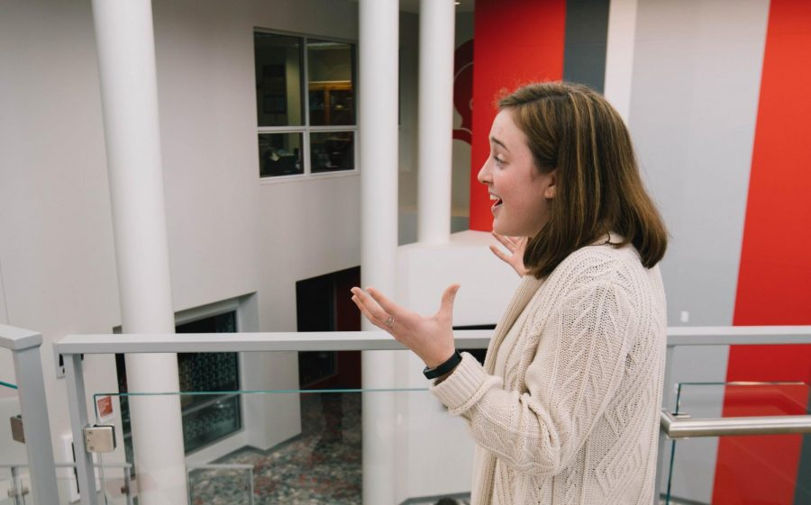 Senior Erin Long discusses the lack of bathrooms near the new learning space.