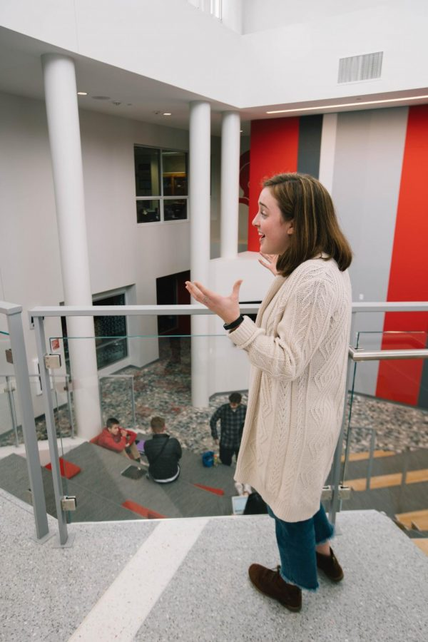 Erin Long discusses the lack of bathrooms in the new learning space.