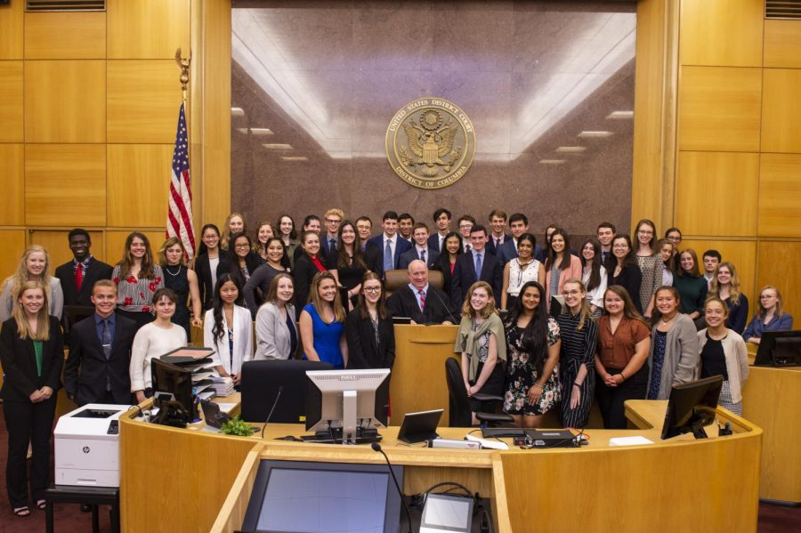 All participants, one form each state, posed with Judge Royce Lamberth at the E. Barrett Prettyman United States Courthouse .