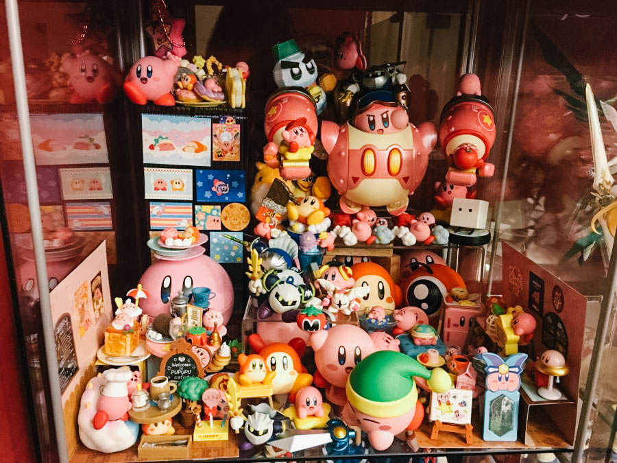 Senior Ian Wong proudly displays his 70-piece Kirby collection.
