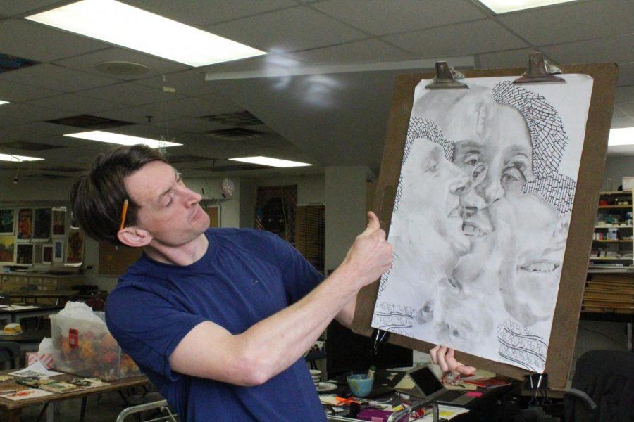 Mr. Zinn showcasing his artistic skills.
