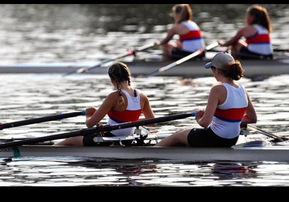 Senior Laura Boase  competes in a rowing regatta.