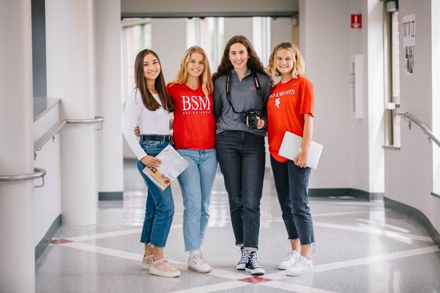 The+four+senior+interns%3A+%28from+left+to+right%29+Grace+Driscoll%2C+Liv+Schmitz%2C+Olivia+Pace%2C+and+Maddi+Zachman.++Courtesy+of+BSM+Marketing