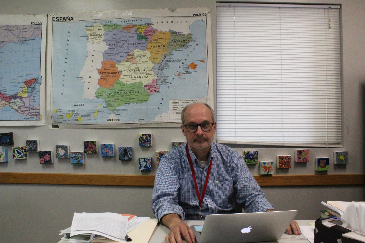 James Amstutz works to share his passion for the Spanish language with his students.