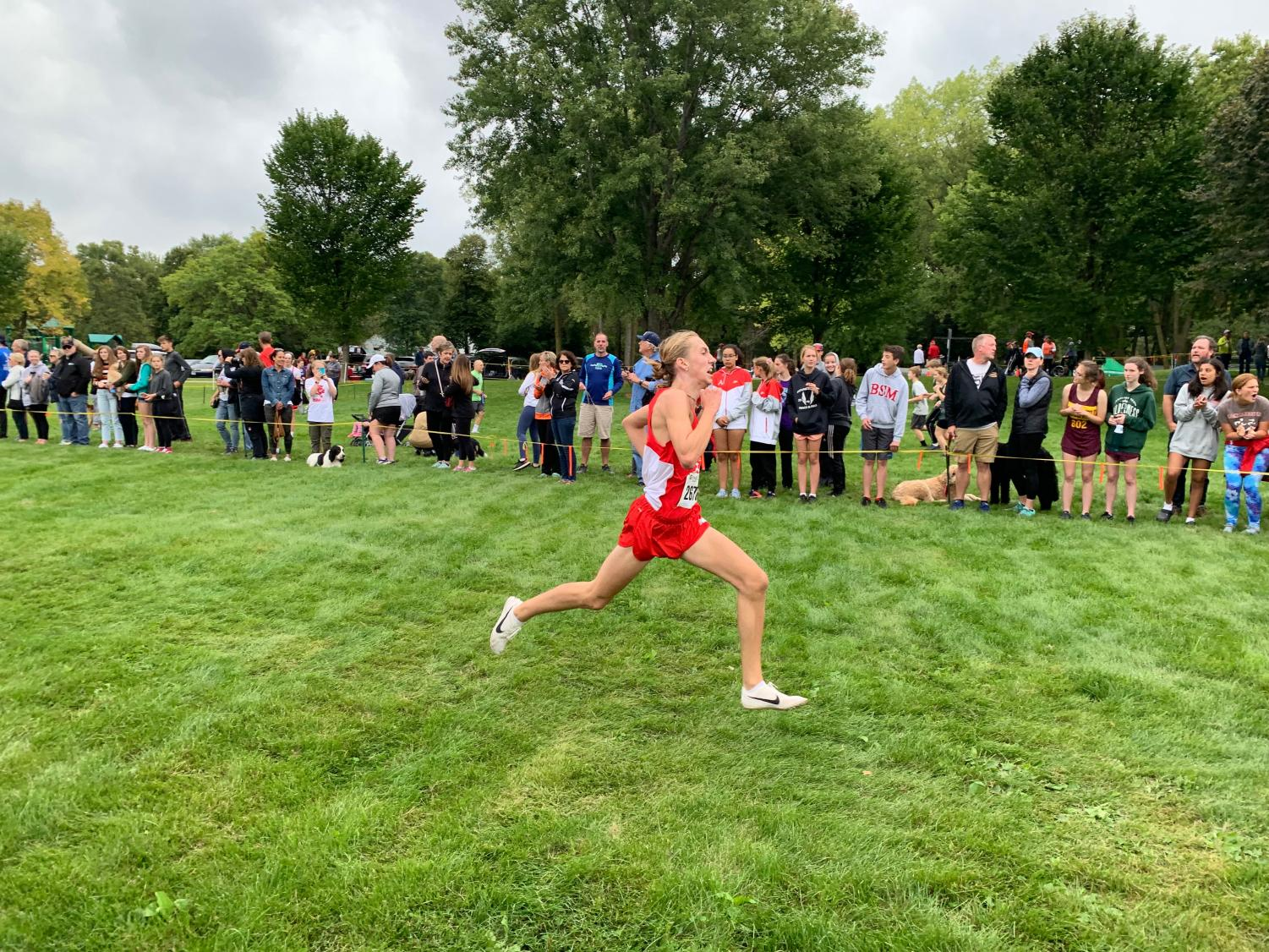 Walker Niebergall prior to crossing the finish line at BSM's home meet on September 8th.