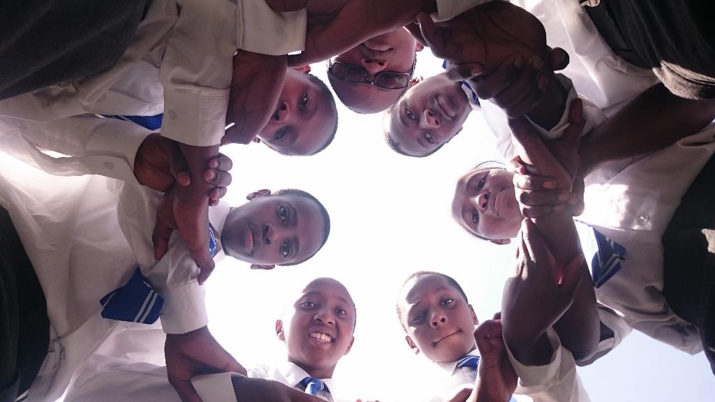 Students gather at St. LaSalle School in Karemeno, Kenya.