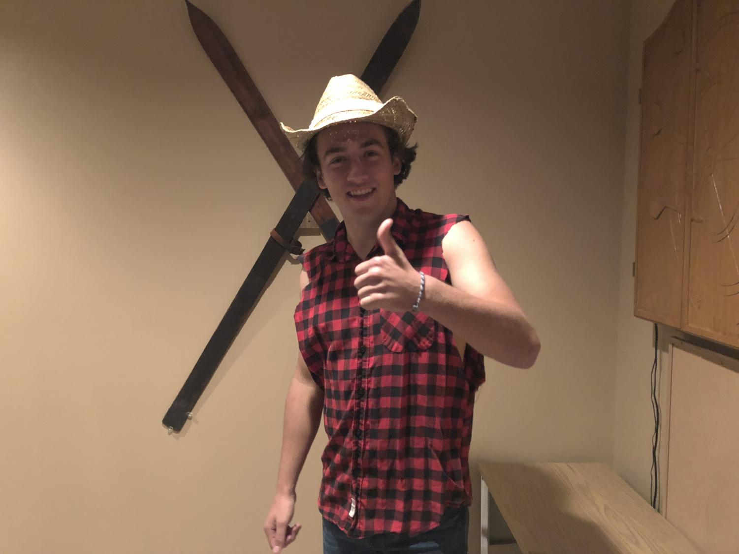 Senior Louis Hyde dresses up as cowboy for Halloween this year.