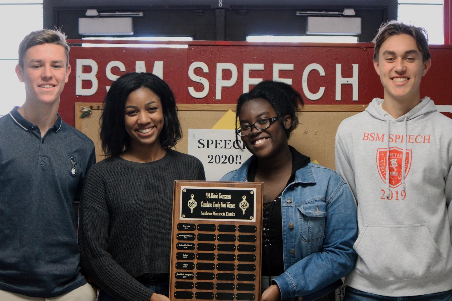 BSM speech team members win award after earning the most points and degrees in their district.