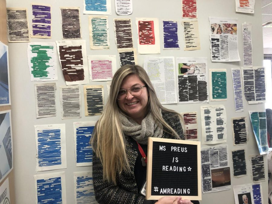 Ms. Kaia Preus displays her love for reading in her classroom.