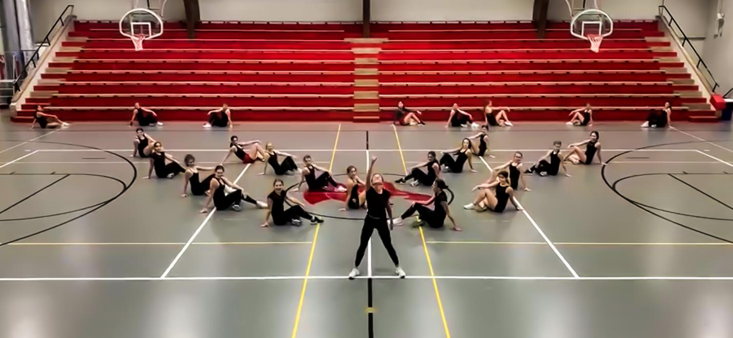 Dance team practices their fresh choreographed dances for competition.