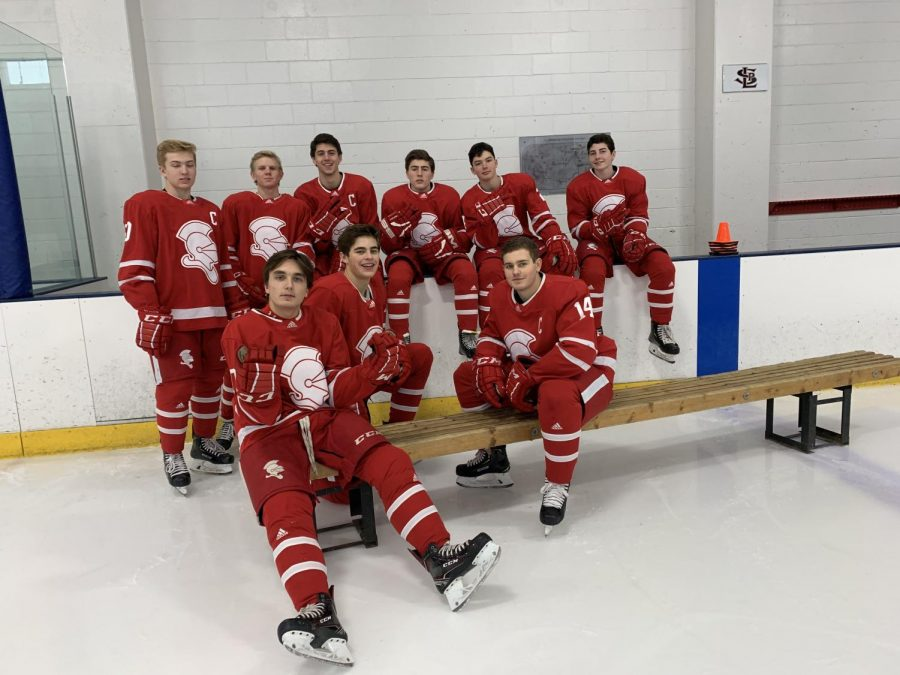 Some+of+the+boys+who+made+the+boys+varsity+hockey+team+pose+for+a+photo.