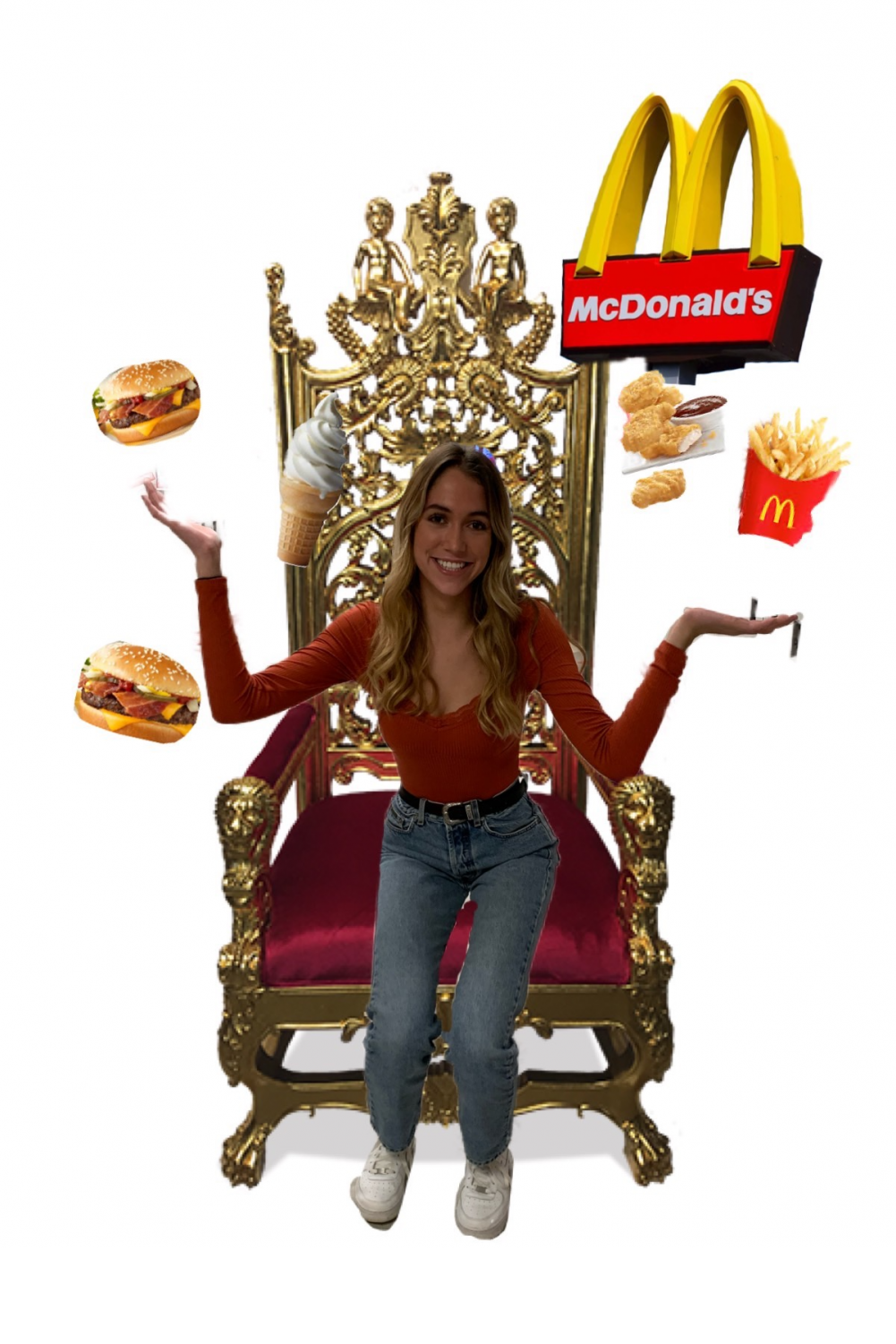 Sam Richardson, a McDonald's enthusiast, sits on throne of burgers, fries, and chicken nuggets.