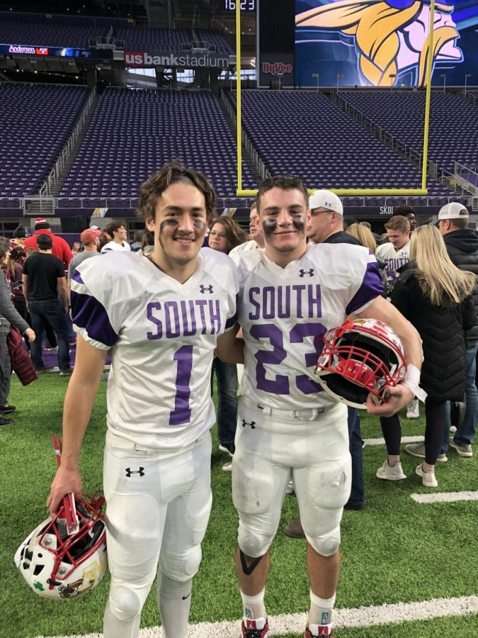 Seniors Joe Marinaro and Louis Hyde smile after the all-star game.