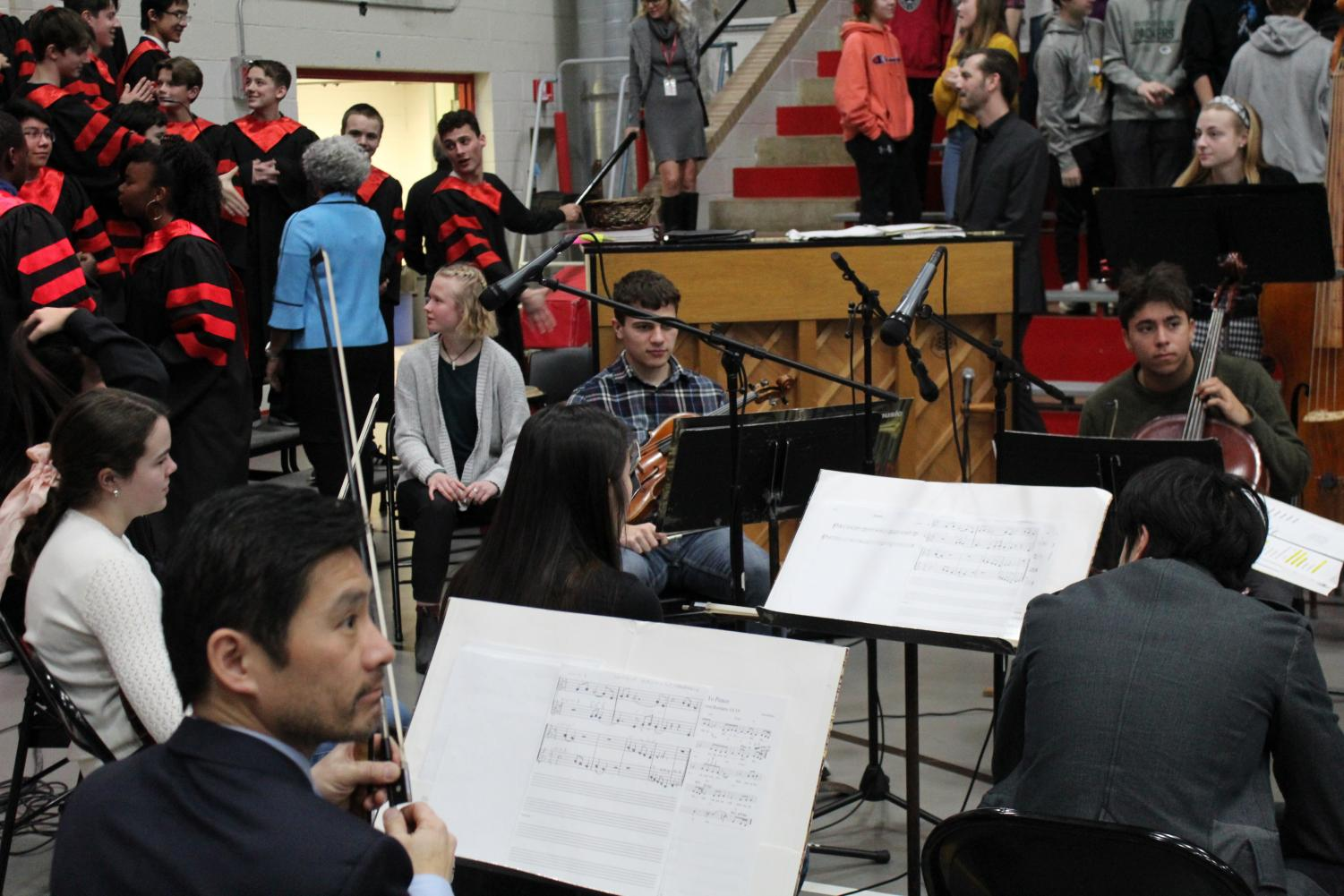 Despite dwindling in size, the orchestra still plays at mass.