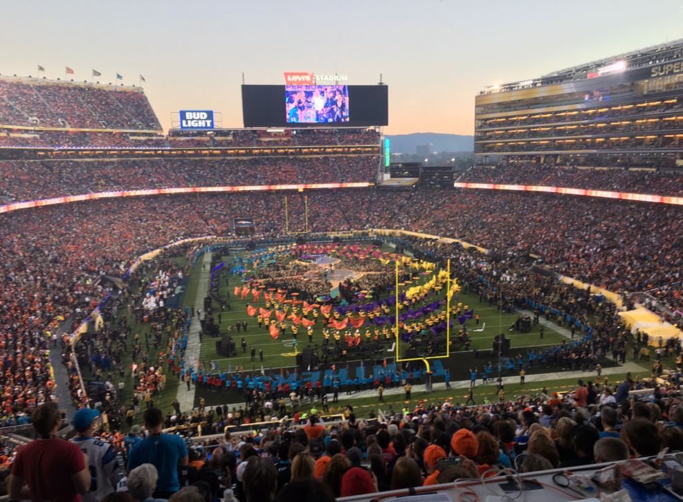 Coldplay during Super Bowl 50's halftime show.