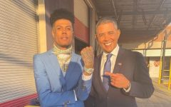 Blueface on set for the filming of the music video alongside an Obama look-alike