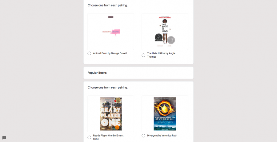 BSM's March Book Madness is designed to pit books against each other to see which ones are the students' favorites. This Google Form is used for voting.