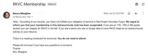 BSM students receives an email on their membership suspension in RKVC.