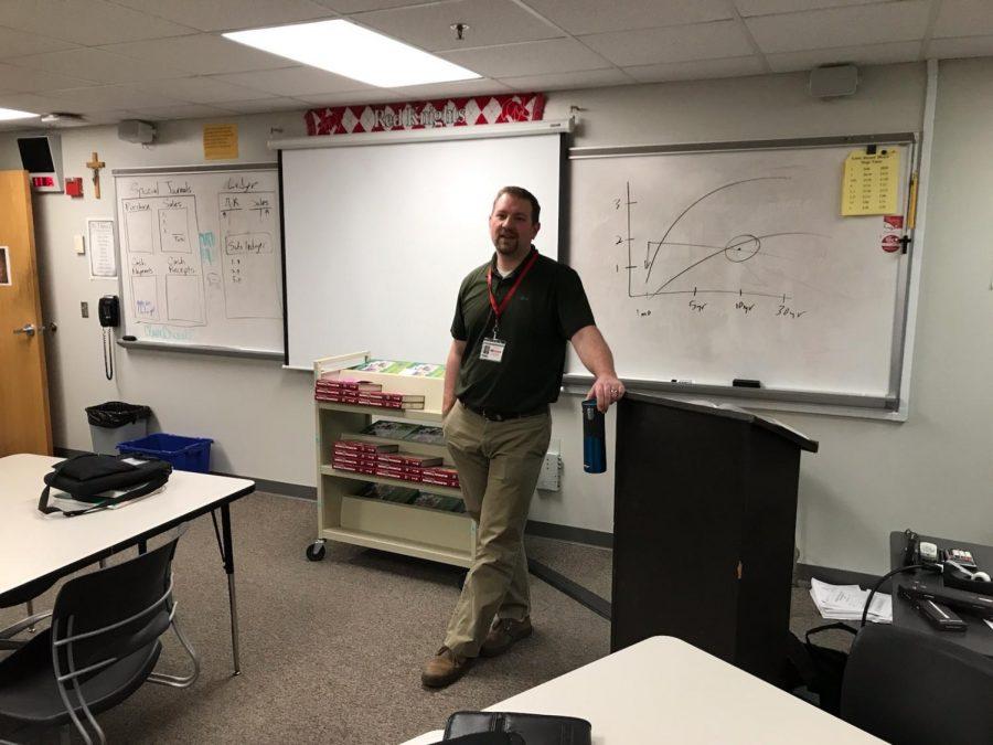 BSM Business teacher Mr. Sabol teaches a class.