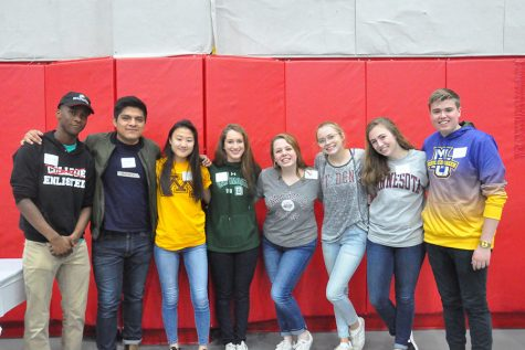 Seniors traditionally wore shirts indicating their future plans to the annual alumni breakfast.