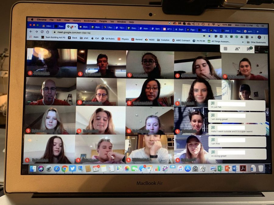 Biology teacher Mr. Mark Peterson caught up with his biomed student in a live group chat on Google Meet.