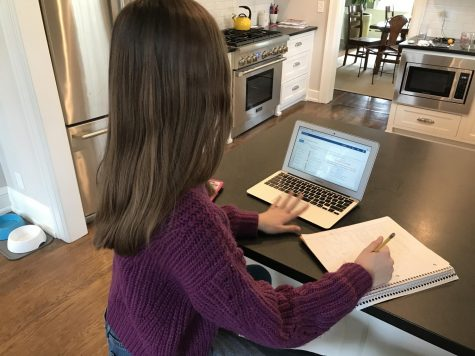 8th grader Margaret Frohman completes her online assignments from her kitchen counter.