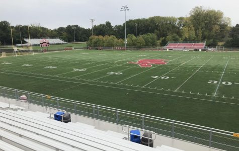 The football field sits empty this fall as the team is currently not slated to play until the spring.