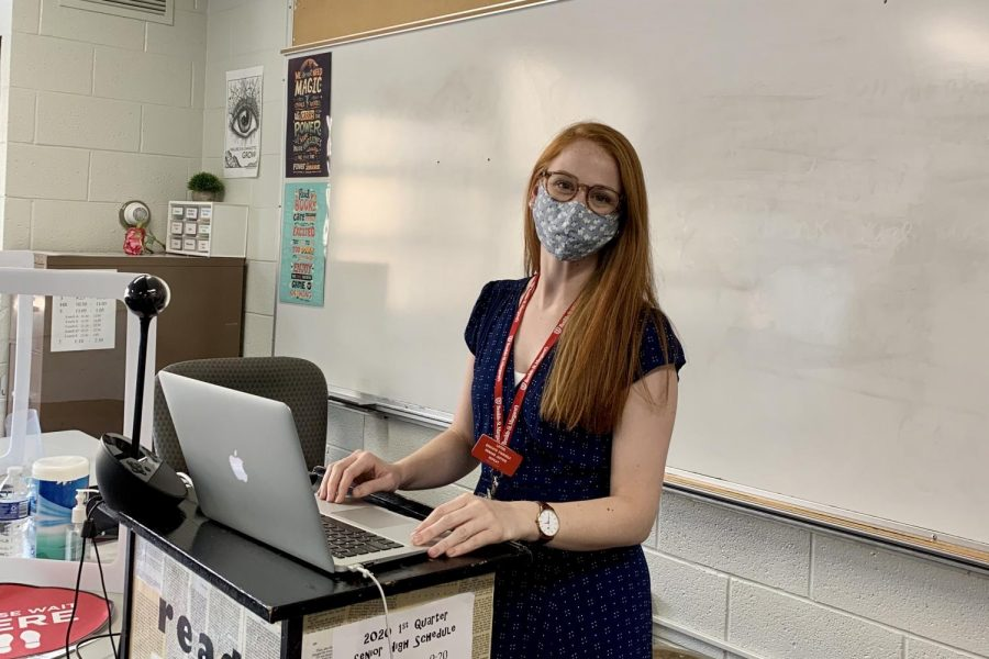 Ms.+Jennifer+Bevington+stands+at+her+podium+ready+to+teach.+She+is+one+of+12+new+teachers+at+BSM.