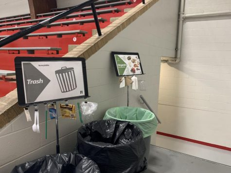 Posters are mounted above the trash and organics bins to aid students in sorting their waste.