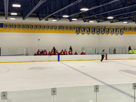 BSM Girls Hockey coaches masked up on the bench in a pre-season game