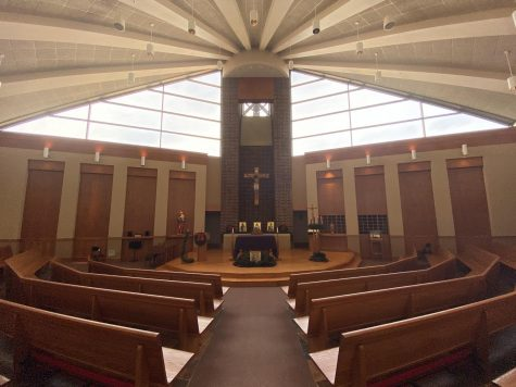 In non-covid times students would gather in the chapel.