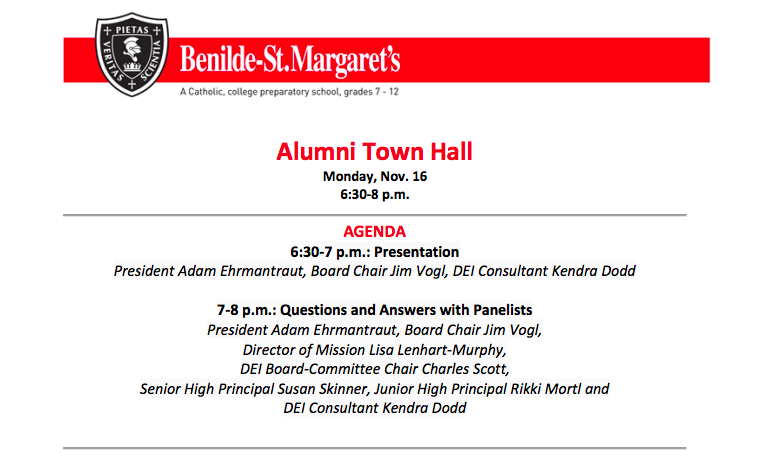 BSM published an agenda and guidelines for its alumni DEI Town Hall before it occurred on Monday, November 16.