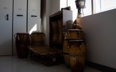 The BSM choir's authentic West African drums sit in the corner of the choir room, waiting to be used.