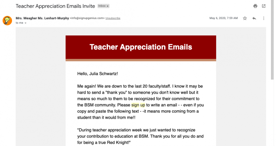 RKVC students log onto Sign-Up Genius, where Mrs. Becca Meagher posts volunteer opportunities. Writing teacher appreciation emails is an example of online volunteering.