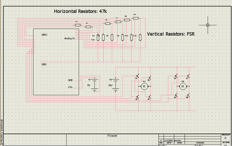 Andrew Forby and Max Hoffman's exoskeleton involves a complicated circuit schematic.