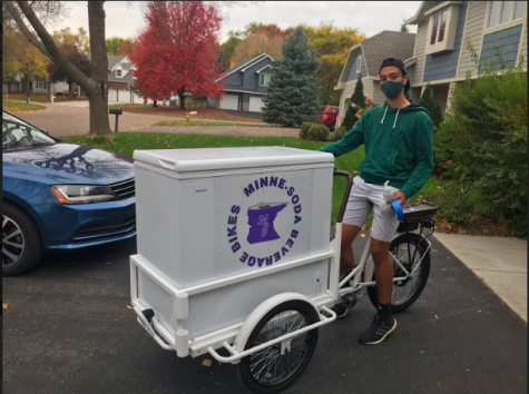 Senior Nate Charles remains hopeful for the future of his Minne-Soda Beverage Bikes business. / Senior Nate Charles prepares for the incoming success of his business, Minne-Soda Beverage Bikes.