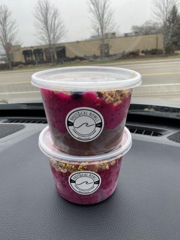 Colorful smoothie bowls from Nautical Bowls sit comfortably on a car dashboard.
