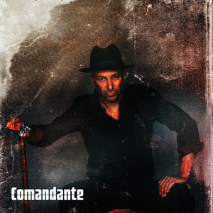 "Tom Morello poses on the album cover for ""Comandante."""