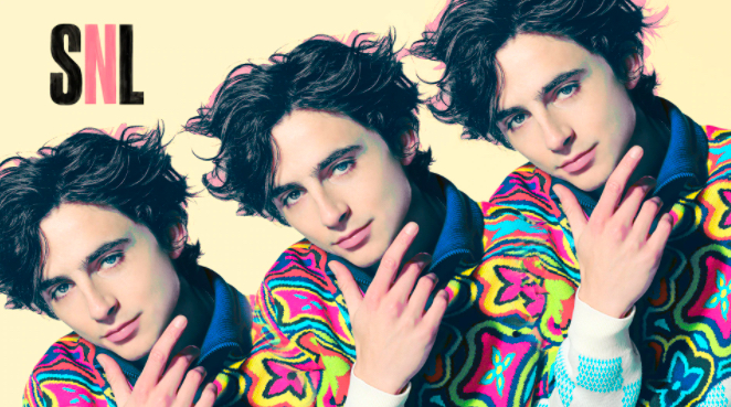 Timothee Chalamet poses for Saturday Night Live cover art