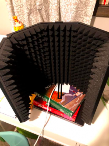 Mr. Mahler's soundproofing foam, used to contain noise when he records, sits atop an improvised stand of math books.
