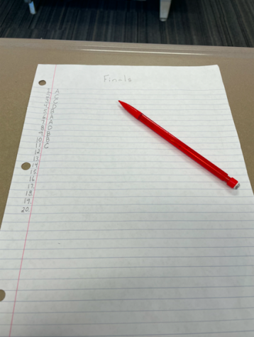 A student prepares for a generic final exam.