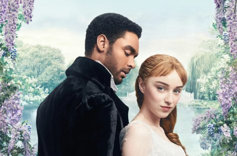 The official Bridgerton poster features the show's dual plotlines of 19th-century courting and interracial love.