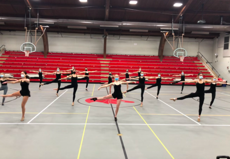 The Knightettes rehearse their routine on their first day back at practice after dancing virtually for a month.