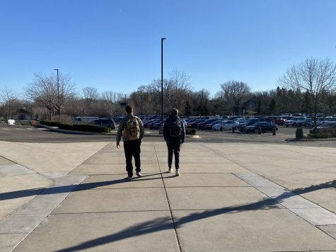 Seniors Nick Marinaro and Josh Sullivan take advantage of one of their senior privileges, leaving school for lunch