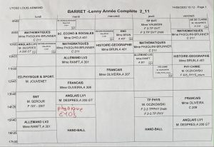 A typical school schedule for a student in France.