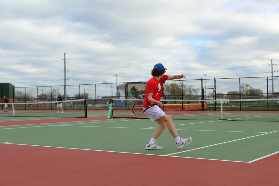 Sophomore, Blue Wagoner responds to a serve at Thursday's match against SLP.