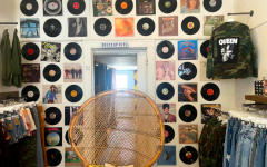 Records adorn the wall at Queenie and Pearl in South Minneapolis.